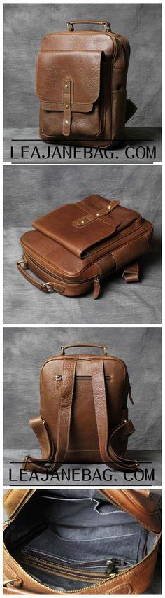 Cognack Backpack, Leather Backpack, Travel backpack, City Backpack, Handmade Backpack OAK-051