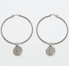 Stainless Steel Hoop Earrings With Cross Charms Us 15 99 New Without Tags In Jewelry Watches