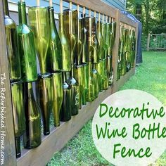 Create a one of a kind decorative fence with recycled wine bottles. Recycled Wine Bottles, Wine Bottle Crafts, Bottle Art, Glass Bottle, Recycled Glass, Wine Bottle Fence, Bottle Trees, Wine Craft, Bottles And Jars