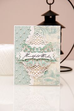"A ""Heartfelt Wishes"" card using dies from #Spellbinders and papers from #Graphic45 #BotanicalTea Collections. Spellbinders dies used: A2 Tranquil Moments S5-216, Curved Borders Two S5-201, Ribbon Banners S4-324, Outrageous Butterfly S2-069. Please visit my blog at http://www.zrobysama.com.ua/?p=43765 for more photos and video tutorial."
