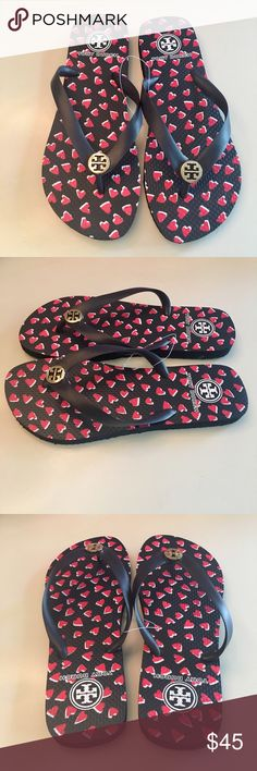 Tory Burch Hearts 💕 Flip Flops NWT! Perfect for spring! Adorable Tory classic flip flops. No Trades Tory Burch Shoes Sandals