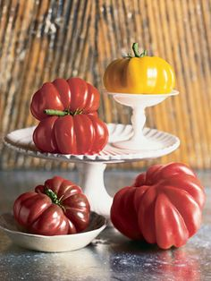 Heirloom Tomatoes  From Amy Goldman's ultimate tome on all things tomato, The Heirloom Tomato: From Garden to Table—Recipes, Portraits, and History of the World's Most Beautiful Fruit.