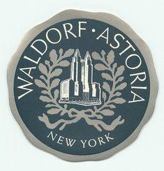 New York City, Waldorf Astoria, Vintage Deco Hotel Luggage Label | eBay