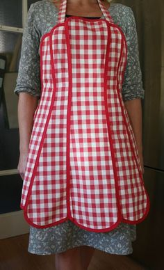 red aprons | Red Gingham Panelled Apron