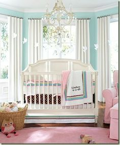 Turquoise and Pink - in LOVE with this color combo. I'm pretty sure my little girl will have a chandelier  in her room.