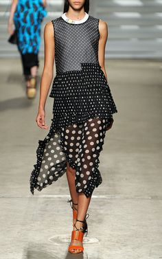New York Fashion Week, preorder Thakoon Spring 2015 Runway Trunkshow Look 23 - Black And White Polka Dot Pleated Dress