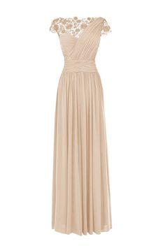 A-line Chiffon Bateau Ruched Long Bridesmaid Dresses
