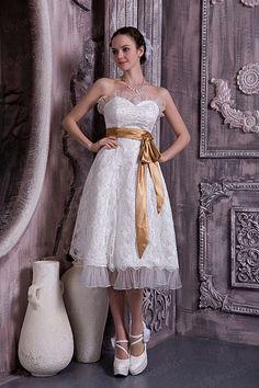 A-line Sweetheart Satin Lace Tea-length Wedding Dres