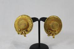 """Boucles d'oreilles Chanel """"chapeau de paille"""" XL"""