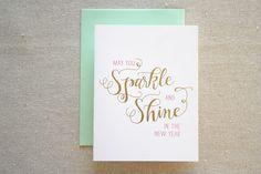 Sparkle and Shine Foil/Letterpress Card.  via Etsy.
