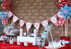 Ice Cream Red & Blue Printable Party