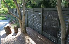 Grey painted fence with natural decking.