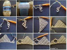 Video, Kreditkartenschal How To . Hairpin Lace Crochet, Crochet Shawl, Double Crochet, Crochet Blocks, Crochet Patterns, Knitting Stitches, Hand Knitting, Crochet Sunflower, Crochet Baby Boots