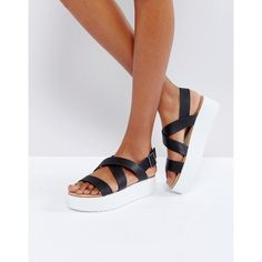 Mango Flatform Sandals With Strap Detail (490 NOK) ❤ liked on Polyvore featuring shoes, sandals, black, open toe sandals, black strap sandals, black ankle strap shoes, flatform sandals and black ankle strap sandals
