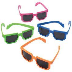 Neon 8-Bit Sunglasses (1 Pair - Assorted)
