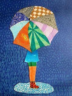 immagin @ rti: Textures sur un parapluie, Weather Art, Spring Coloring Pages, 5th Grade Art, Umbrella Art, Spring Art, Art Lessons Elementary, Elements Of Art, Art Classroom, Art Plastique