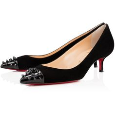 Christian Louboutin Geo Pump ($695) ❤ liked on Polyvore featuring shoes, pumps, black, black suede pumps, black mid heel shoes, christian louboutin, black pumps and mid-heel pumps