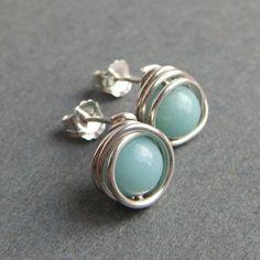 March Birthday Sky Blue Post Earrings Amazonite by aubepine