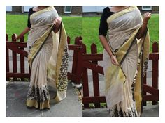 Wheat colour khadi saree with gold border and black flower embroidery running along the bottom Portion. (RED flower embroidery is ALSO AVAILABLE).  Blouse: Black semi raw silk (unstitched)  If you would like to place an order for this Saree directly ,Then please email us at prishaboutique@hotmail.com or simply visit our Facebook page. www.facebook.com/prishaps  #sari#saree#bollywood#indian#attire#wear#traditional#black#cream#designer#uk#prisha#boutique#simple