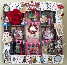 """I made this for my daughters UnBirthday! She is a huge Alice in Wonderland fan, sporting an Alice tattoo & is even named after her! To start I used an empty shadow box, purchased from Michael's, constructing the shelves from foam board. Besides my imagination & some """"stuff"""" I had around the house I used Mad Tea Party paper by Marion Smith and various fun """"stuff"""" purchased from Etsy artists, Porkchopshow, Raidersofthelostart & VictoriaDesigns (Please check these wonderful artist out)"""