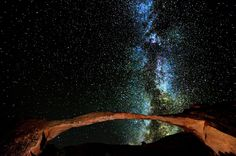 The Milky Way rises above the famous Landscape Arch with very clear air after a cold November storm in the Arches National Park, Utah. By Bret Webster Cosmos, Light Pollution, Dark Skies, Milky Way, Stargazing, Wild West, Night Skies, Northern Lights, National Parks