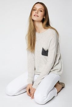 The Lucy Nagle Pocket Cashmere Sweater in Glazier Grey Cashmere Sweaters, Pullover, Pocket, Grey, Summer, Collection, Fashion, Gray, Moda