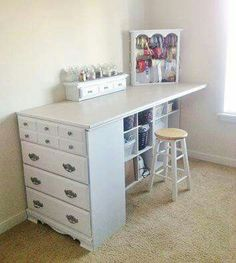 Use an old dresser and cube storage to make a craft table