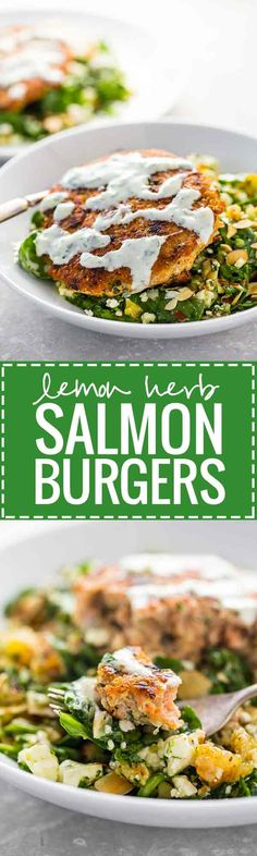Lemon Herb Salmon Burgers with a Dried Pear and Gorgonzola Salad! An easy, healthy recipe that is a MUST for salmon lovers! | pinchofyum.com