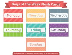Free Printable Days of the Week Flash Cards Learning English For Kids, Toddler Learning, Early Learning, Teaching English, Teaching Kids, Kids English, Learning Spanish, English Words, English Lessons