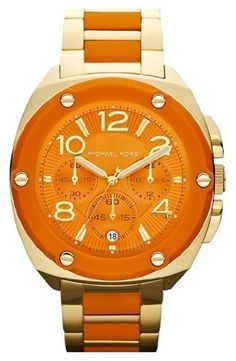 56a4e76b02cd Michael Kors Tribeca Chronograph Gold-tone Orange Silicone Ladies Watch  MK5768    More info