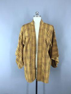 1970s Vintage Silk Haori Kimono Cardigan Jacket in Brown Plaid  #thisbluebird #vintage #vintageclothing #shopvintage