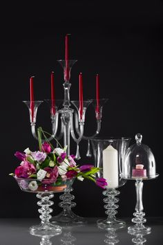 Glassware for wedding decoration - candleholders, candelabra, fruit and cake stands - handmade in our workshop in Romania > Worldwide Shipping! Wedding Decorations, Table Decorations, Cake Stands, Candleholders, Candelabra, Romania, Workshop, Fruit, Glass