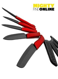 """5-Piece Cherry Red Ceramic Knife Set by Mighty Fine Online. Includes 6"""" Santoku Knife, 5"""" Utility, 4"""" Fruit, 3"""" Paring Kitchen Knife each with Black Protective Sheaths and a Bonus 3.5"""" Ceramic Folding Knife. Features Black Ceramic Zirconium Carbide Blade with ergonomically designed soft grip plastic direct-injection handles in a stunning Cherry Red metallic finish. BPA Free, FDA Approved & LFGB Certified. Each set comes in a Mighty Fine Online Gift Box."""