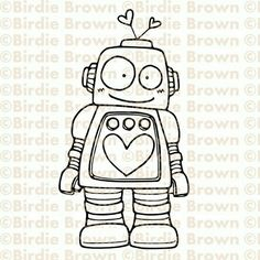 Digital stamp Lovely Robot by BirdieBrown on Etsy Doodle Drawings, Cute Drawings, Doodle Art, Robots Drawing, Creation Art, Doodle Inspiration, Cute Doodles, Digi Stamps, Art Lessons