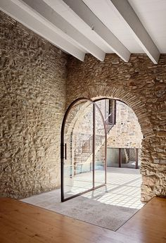 Epic Farmhouse Renovation in Girona, Spain by Arquitectura-G. Interior Architecture, Interior And Exterior, Interior Doors, Interior Design, Gothic Architecture, Ancient Architecture, Door Design, House Design, Farmhouse Renovation