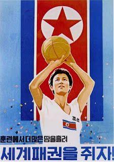 North Korean Propaganda - let's shoot some hoops Communist Propaganda, Propaganda Art, Life In North Korea, Socialist State, Military First, Pub Vintage, Reunification, Korean Peninsula, Korean War