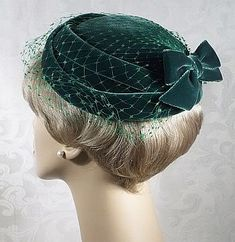 Easter Candy 1950 | Vintage 1960s Black Fur Felt Mr John Pillbox Hat :