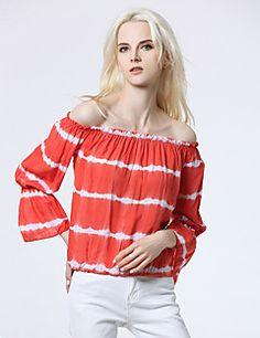 Feminino Camiseta Para Noite Casual Sensual Verão Outono,Listrado Seda Decote Canoa Sem Manga Opaca
