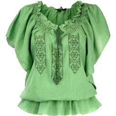 Green flutter sleeve top ($34) ❤ liked on Polyvore