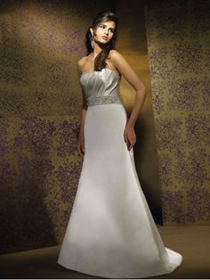 A-line Satin Ruched Bodice Softly Curved Neckline Chapel Length Wedding Dresses