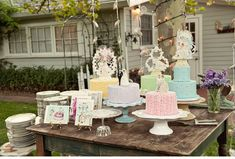 mismatched colorful cakes, vintage china