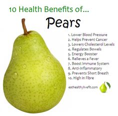 10 Health Benefits of Pears | Eating Healthy & Living Fit - EatHealthyLiveFit.com