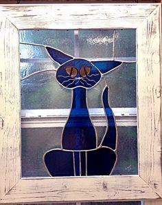 Stained Glass Cat Blue Big Panel Framed door StainedGlassRoxanneK