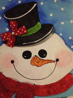 FOR SALE: $36 Frosty Sparkle Snowman • 16×20 on hanging canvas * sparkle tool hanger