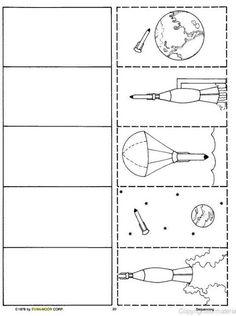 Logische volgorde, ruimte, free printable / Sequencias para fazer atividades de redação Space Crafts For Kids, Space Preschool, Space Activities, Preschool Projects, Sistema Solar, Rocket Craft, Space Aliens, Earth From Space, Space Theme