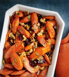 Simple carrot side dish recipe featuring walnuts that is sure to be a family favorite -as tasty as it is beautiful!