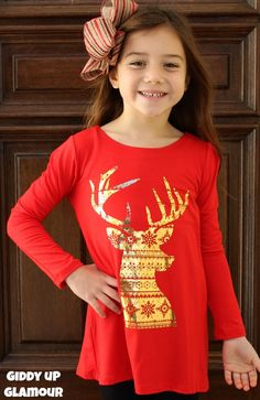 Kids Run, Run Rudolph Piko Top with Gold Foiled Christmas Patterned Deer in Red www.gugonline.com $19.95