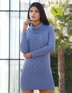 Free Knitting Pattern for a Modern Knit Dress with a cable panel, long sleeves a. Free Knitting Pattern for a Modern Knit Dress with a cable panel, long sleeves and turtleneck. Free Knitting Patterns For Women, Cable Knitting Patterns, Crochet Patterns, Knitting Tutorials, Knitting Ideas, Stitch Patterns, Knit Sweater Dress, Knit Skirt, Knit Sweaters