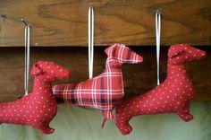 Dachshund Ornament  Hand Sewn  'Plaid' or 'Polka Dox' by AprilSage, $15.00