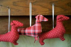 Dachshund Ornament Hand Sewn 'Plaid' or 'Polka Dox' by AprilSage